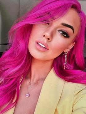 FUCHSIA LONG CURLY SYNTHETIC LACE FRONT WIG SNY165