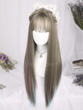 MIXED COLOR MEDIUM LENGTH STRAIGHT SYNTHETIC WEFTED CAP WIG LG178
