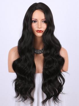 BLACK LONG WAVY SYNTHETIC LACE FRONT WIG SNY180