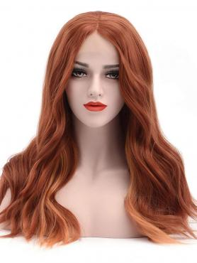 COPPER WAVY MEDIUM LENGTH SYNTHETIC LACE FRONT WIG SNY178