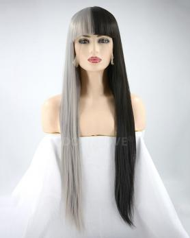 HALF BLACK AND HALF GREY LONG STRAIGHT SYNTHETIC WEFTED CAP WIG LG218