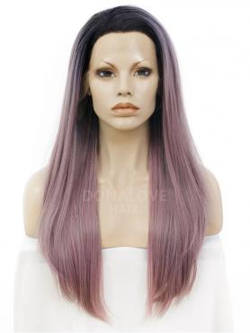 BLACK OMBRE PINK RED LONG STRAIGHT SYNTHETIC LACE FRONT WIG SNY275