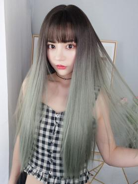 New Chocolate Brown Ombre Matcha Gray Long Straight Capless Synthetic Wig LG021