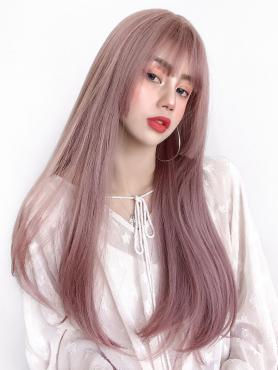 New Pink Hime Cut Long Straight Wefted Cap Wig LG030