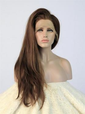 Brown Straight bra strap length Lace Front Synthetic Wig-DQ019