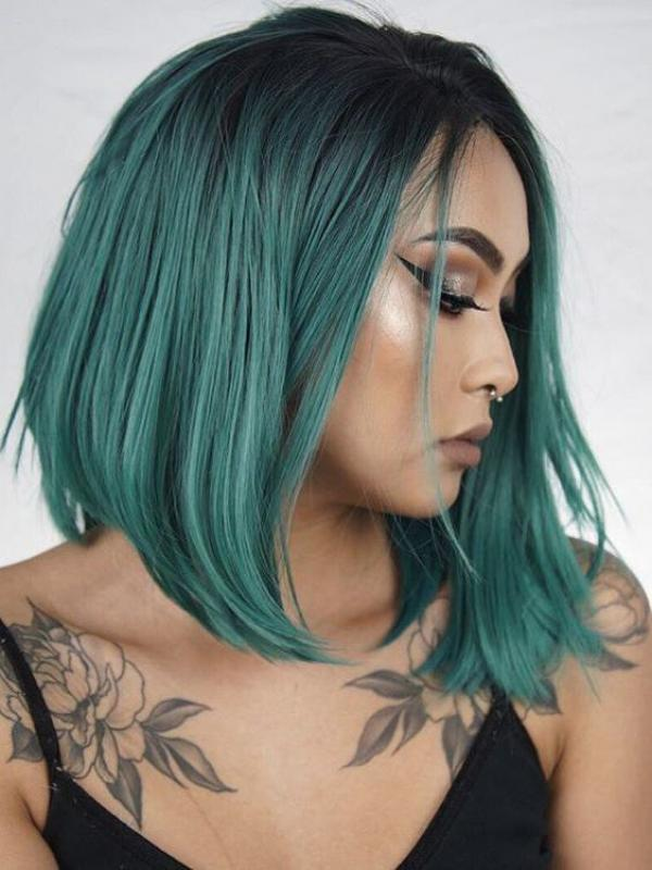 Black To Green Short Bob Lace Front Synthetic Wig Sny087 Synthetic