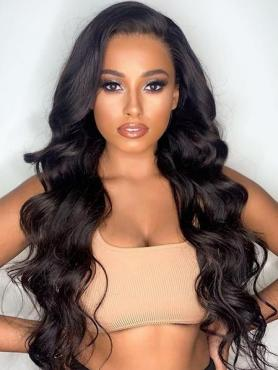 NATURAL BLACK LONG WAVY FULL LACE HUMAN HAIR WIG AF008