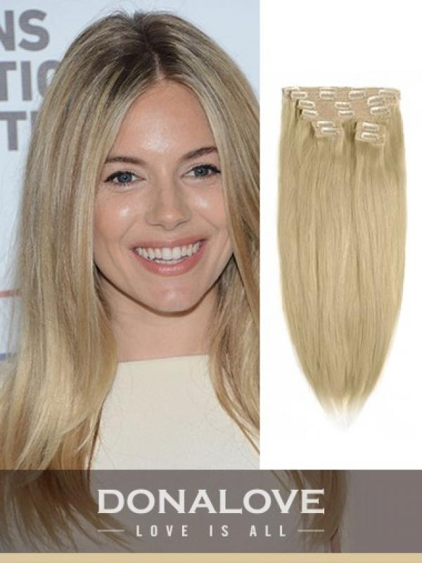 Light Golden Brown Indian Remy Clip In Hair Extensions Sd012 Clip
