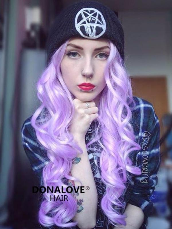 Purple Waist-length Wavy Synthetic Lace Wig-SNY066