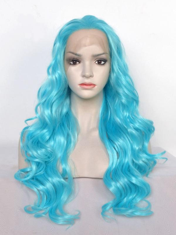 Blue Long Wavy Synthetic Lace Front Wig-SNY070