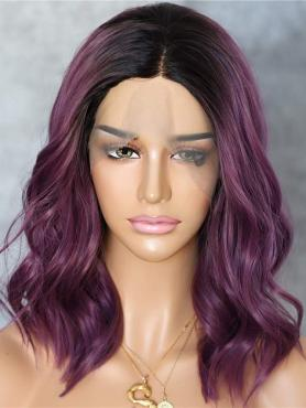 PURPLE OMBRE SHOULDER LENGTH WAVY SYNTHETIC LACE FRONT WIG SNY154