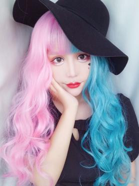 New Lolita Half Pink Half Blue Synthetic Wefted Cap Wig LG019