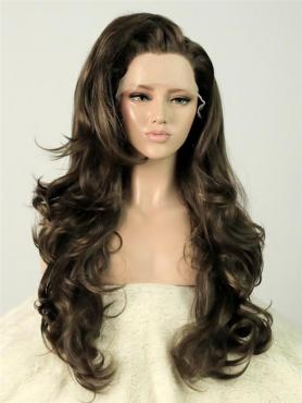 Strawberry brown Wavy Long Lace Front Synthetic Wig-DQ015
