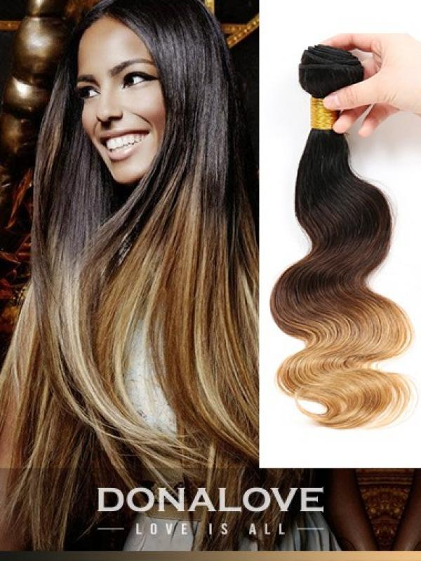 Two Colors Ombre Indian Remy Clip In Hair Extensions Od007 Clip In